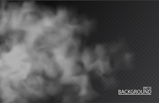 Biała mgła lub dym na na białym tle przezroczystym tle. smog.