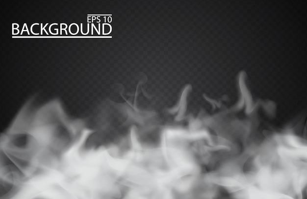 Biała mgła lub dym na przezroczystym tle