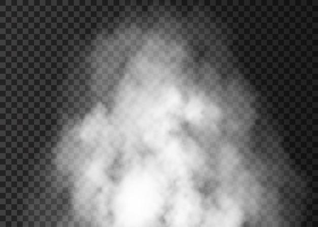 Biała mgła na przezroczystym tle