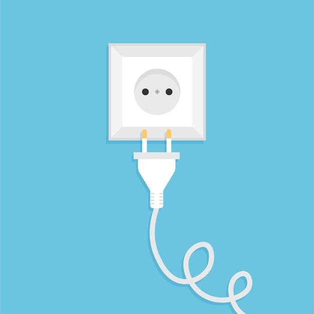 Biała międzynarodowa wtyczka i gniazdo zasilania prądem przemiennym gniazdko elektryczne ilustracja wektorowa