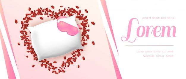 Biała, miękka, prostokątna poduszka z różową opaską na oczy
