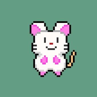 Biała mysz w stylu pixel art