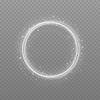 Biała okrągła ramka z efektem światła brokatu