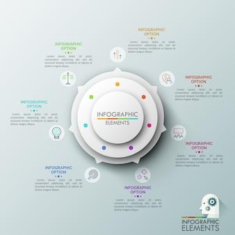 Biała okrągła tabela z 7 strzałkami wskazującymi kolorowe ikony i pola tekstowe. koncepcja okrągłego wskaźnika z siedmioma opcjami.