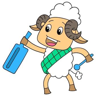 Biała owca niosąca kentongan, aby obudzić sahur, ilustracja wektorowa sztuki. doodle ikona obrazu kawaii.