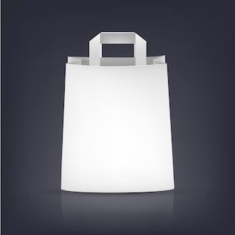 Biała papierowa torba ilustracja na ciemnym tle