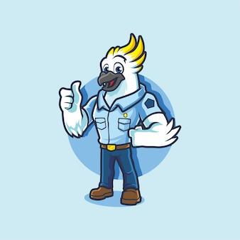 Biała papuga mundur policyjny kciuk w górę kreskówka maskotka wektor