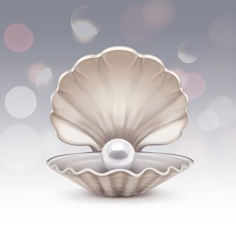Biała perła w muszelce z błyskami. muszla z brokatem na szarym tle gradientu