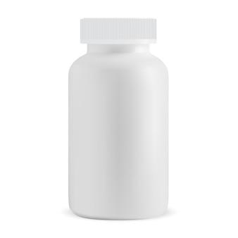 Biała pigułka butelka pusta medycyna na białym tle suplement słoik wektor projekt pudełko kapsułki na receptę