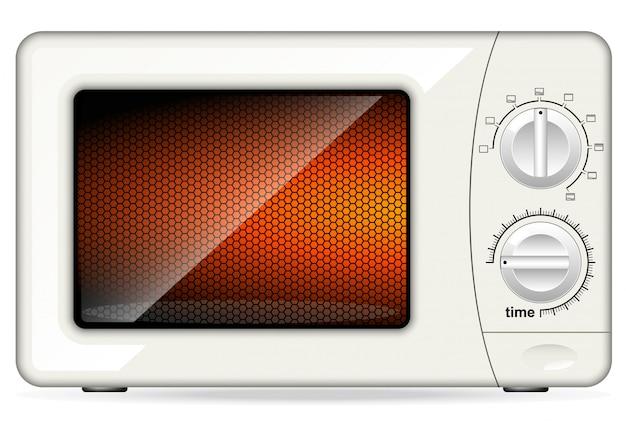 Biała plastikowa kuchenka mikrofalowa. sterowanie mechaniczne. zamknięte drzwi