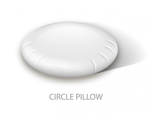 Biała poduszka z płaskim kółkiem. powierzchnia bawełny. okrągła poduszka ortopedyczna. zdrowy sen. obraz reklamowy