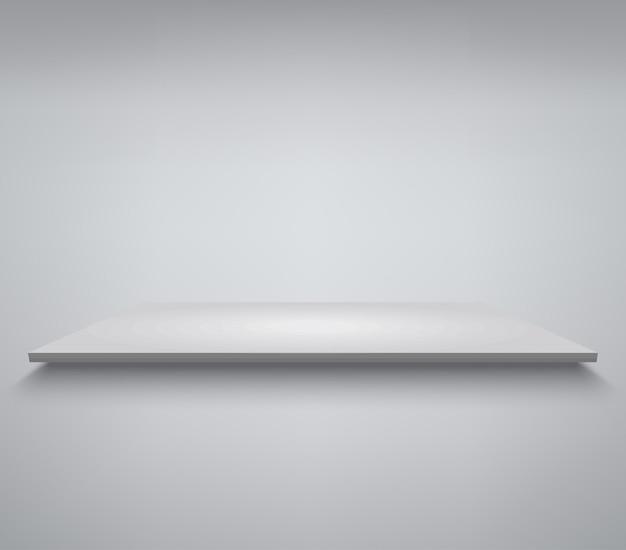 Biała półka. podium do prezentacji produktu, biała scena, pusty biały cokół, makieta pustego szablonu.
