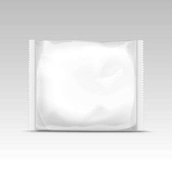 Biała, pozioma, zamknięta, pusta, przezroczysta torba plastikowa