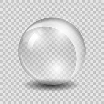 Biała przezroczysta szklana kula lub kula, błyszczące bąbelki