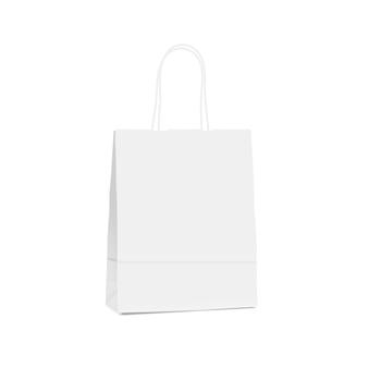 Biała pusta papierowa torba na zakupy