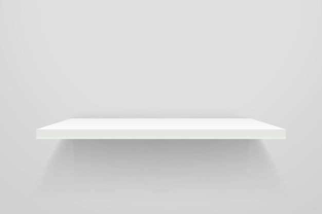 Biała pusta półka na białej ścianie. makieta wektorowa