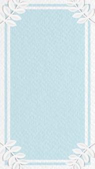 Biała ramka na niebieskiej tapecie na telefon komórkowy z botanicznym wzorem