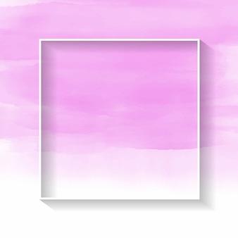 Biała ramka na różowym akwarela tekstury