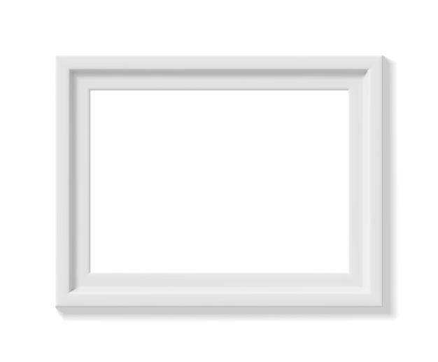 Biała ramka na zdjęcia. orientacja krajobrazu. minimalistyczna szczegółowa fotorealistyczna ramka. element graficzny do scrapbookingu, prezentacji dzieł sztuki, sieci, ulotek, plakatów. ilustracja wektorowa.