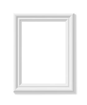 Biała ramka na zdjęcia. orientacja pionowa. minimalistyczna szczegółowa fotorealistyczna ramka. element graficzny do scrapbookingu, prezentacji dzieł sztuki, sieci, ulotek, plakatów. ilustracja wektorowa.