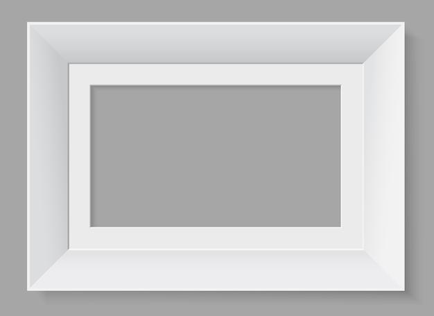 Biała ramka pozioma na białym tle na szarym tle.