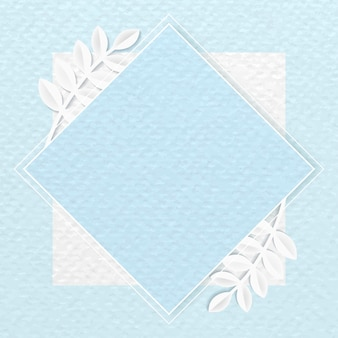 Biała ramka romb na niebieskim tle wzorzystych botanicznych