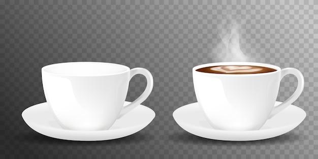 Biała realistyczna filiżanka kawy z dymem na przezroczystym tle. filiżanka kawy i spodek, realistyczne