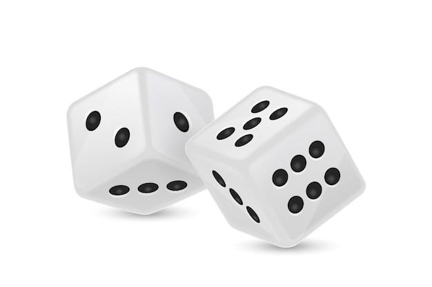 Biała realistyczna ikona kości do gry w locie na białym tle hazard w kasynie