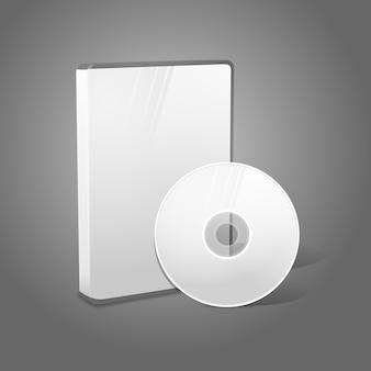 Biała realistyczna izolowana obudowa dvd, cd, blue-ray z dyskiem na szarym tle. z miejscem na tekst i zdjęcia.