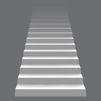 Biała realistyczna koncepcja schodów. nowoczesne schody, schody architektoniczne. kariera ilustracja koncepcja drabiny schody. schody wewnętrzne, schody w górę