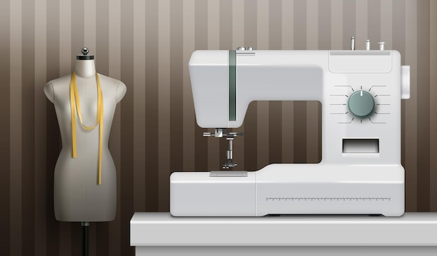 Biała realistyczna maszyna do szycia w pokoju z manekinem krawieckim