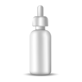 Biała realistyczna pusta butelka surowicy na płyny kosmetyczne