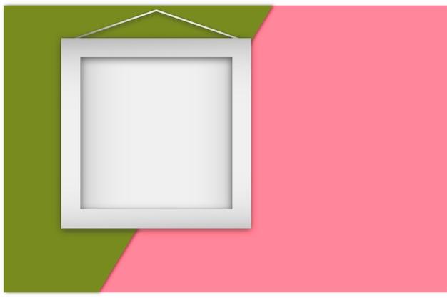 Biała realistyczna rama na kolorowym tle