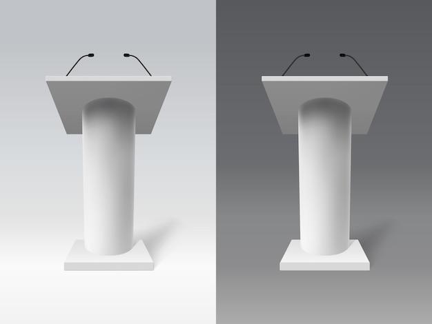Biała realistyczna trybuna. mowa 3d trybuna dyskusyjna, publiczna prezentacja zestawu trybun mowy
