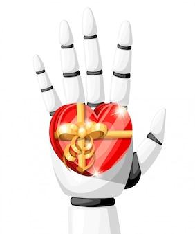 Biała ręka robota lub ramię robota do protetyki trzyma prezent w postaci serca z ilustracją złotej kokardki na białym tle na stronie internetowej i aplikacji mobilnej