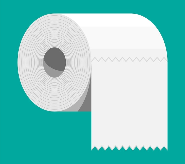 Biała rolka papieru toaletowego. motek papieru do toalety. ilustracja wektorowa w stylu płaski