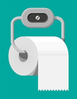 Biała rolka papieru toaletowego na uchwycie. motek papieru do toalety. ilustracja wektorowa w stylu płaski