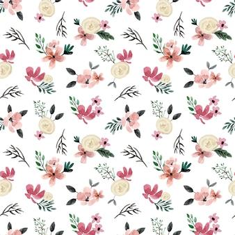 Biała róża i kremowy mini kwiatowy wzór akwarela