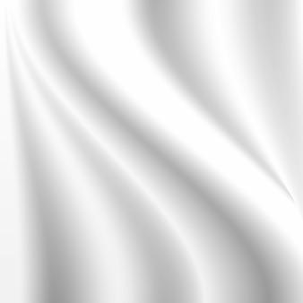 Biała satynowa jedwabna tkanina z tkaniny z drapowanymi falującymi fałdami. abstrakcyjne tło