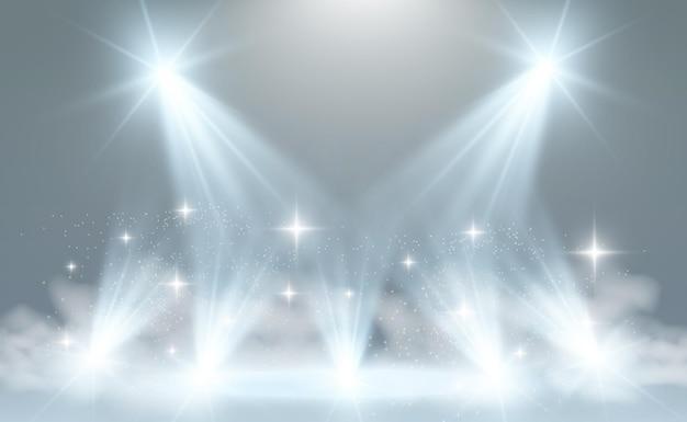 Biała scena z ilustracją reflektorów