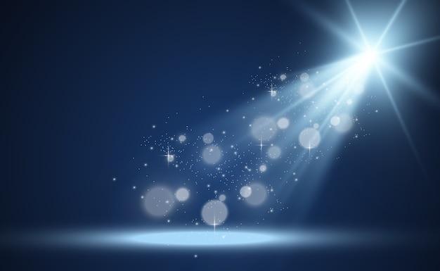 Biała scena z reflektorami ilustracja światła z błyskami na przezroczystym tle