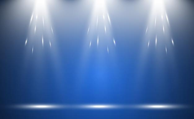 Biała scena z reflektorami. ilustracja światła z błyszczy na przezroczystym tle.