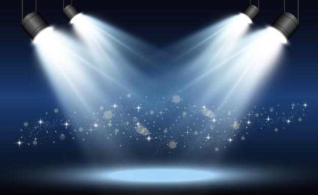 Biała scena z reflektorami ilustracja wektorowa światła z błyszczy na przezroczystym tle