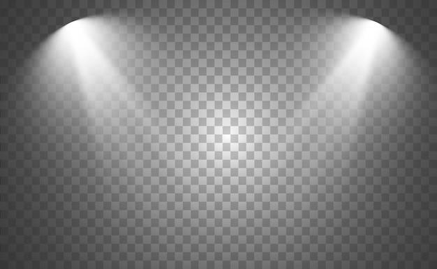 Biała scena z reflektorami. ilustracja wektorowa światła z iskierkami.