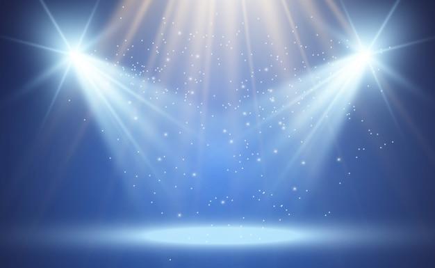 Biała scena z reflektorami. ilustracja.