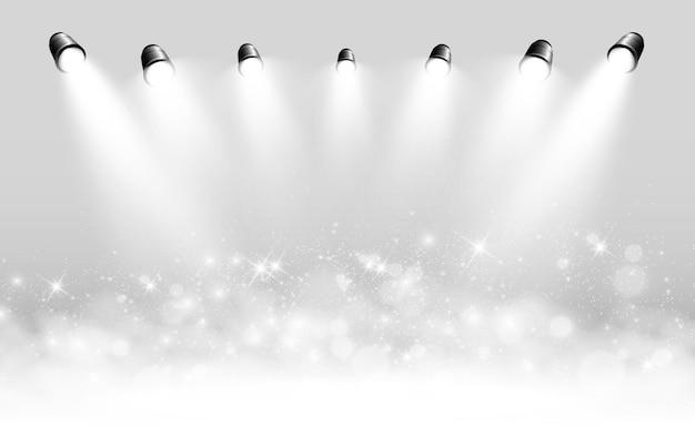 Biała scena z reflektorami ilustracji wektorowych