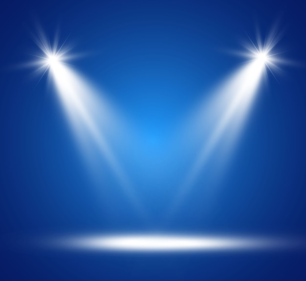 Biała scena z reflektorami.