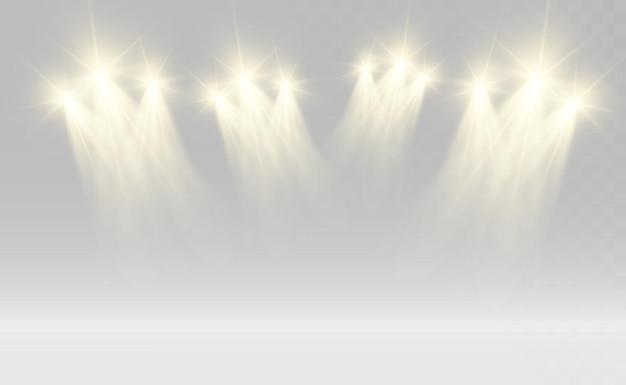 Biała scena z reflektorami