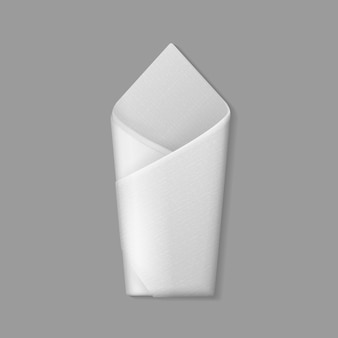 Biała serwetka składana koperta na tle. ustawienie stołu