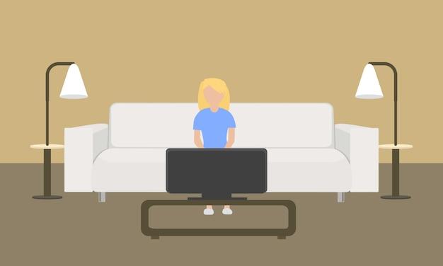 Biała skórzana kanapa koncepcja w stylu płaski